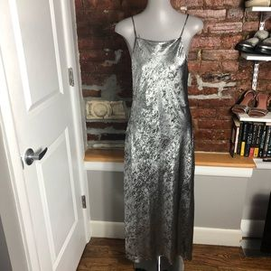 Zara Metallic Speckled Maxi Dress Side Slit M